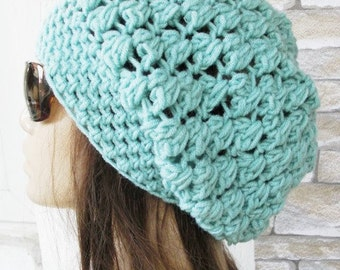 Slouchy Beanie Crochet Hat   Slouchy  Hat   Beanie Hat   Neon Blue  Women hat  chunky knit  blue    Beanie  Fall Winter Accessories  Fashion