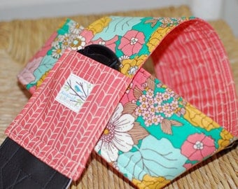 Camera Strap Coral Bungalow Reversible with Lens Cap Pocket