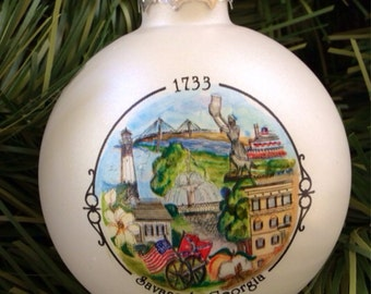 Savannah,Georgia Collage Ornament