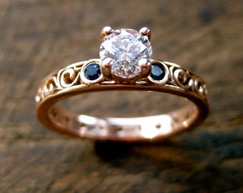 Diamond & Blue Sapphire Engagement Ring in 14K Rose Gold with Vintage Style Scrolls Size 5