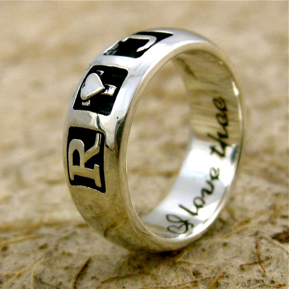 Romeo & Juliet Wedding Ring in Sterling Silver with 'I love thee...' or Custom Text Engraving