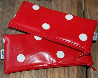 Laura Ashley blood red polka dot OIL cloth pencil pouch, Christmas gift