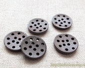 5PCS Natural Coconut Buttons - Fun DIY Simple Round Pierced Hollow Holes Button (5Pcs, D=1.8CM)