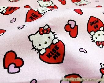SALE Clearance 1 Yard Polka Dots Bow Hello Kitty Kiss Hug Love Red Heart On Pink- Cotton Fabric (1 Yard)