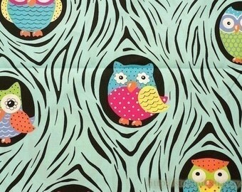 SALE CLEARANCE - 1 Yard Owl Collection, Lovely  Big Eye Floral Hoot Owl On The Tree In Tree Hollows, Choose Color - Cotton Fabric