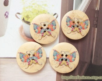 Wooden Buttons -Natural Rainbow Color Flying Butterfly Butterflies (4 in a set, D3CM)
