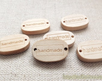 6PCS Wooden Buttons, Natural Color - Lovely Ellipse Handmade Labels, Two Types To Choose (6PCS)