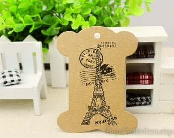 Kraft Cardboard Lace/Ribbon Organizer-Eiffel Tower, Postcard (5 in a set)