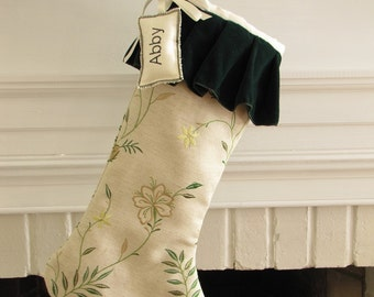 Linen Velvet Christmas Stocking Personalized Embroidered Name Initial Green Natural Tag
