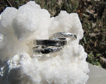 Sterling Silver Band Rings Stacking Rings  Diamond Cut Designs   / Mid Finger Rings Pinky Rings
