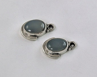 Blue Chalcedony Sterling Silver Pendants - Matching - for Earrings or Necklaces