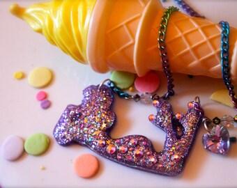 Roller Derby Girl Swarovski Crystal Pendant Necklace - Purple Glitter Resin