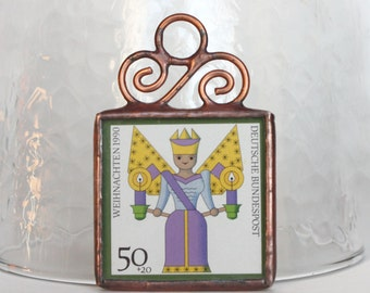 German Postage Stamp Ornament Purple and Gold Angel Stained Glass Ornament Christmas Decoration