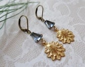 SALE! Vintage Style Light Blue Glass And Brass Earrings