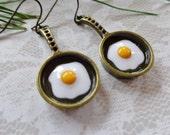 Enameled Fried Egg And Bronze Earrings