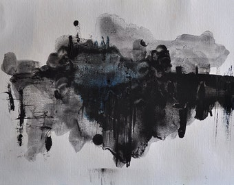 Original Abstract Painting on Paper Black and White Minimalist Art 12x16,5""