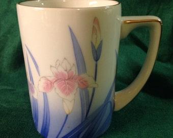 Vintage Mug IRIS 1980s OMC Japan Coffee Cup with Gold Detail Blue, pink
