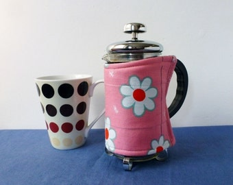 Flowery retro daisy SMALL coffee pot cosy, pink and white french press cosy