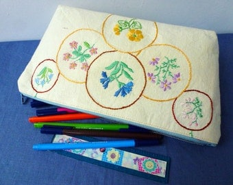 Lovely hand embroidered wild flowers, upcycled vintage fabric zipper purse, pencil case, cosmetics