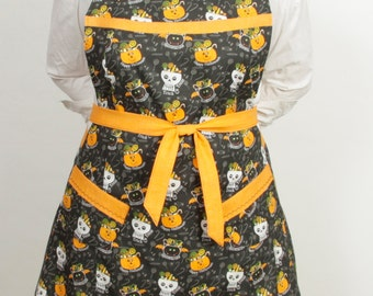 Plus size- Halloween Skull Apron- Trick or Treat Black and Orange Green