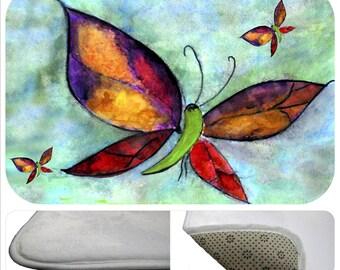 Butterflies bathmat from my art