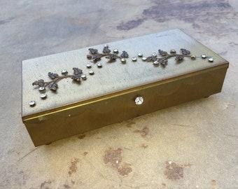 Vintage Brass and Rhinestone Jewelry Box