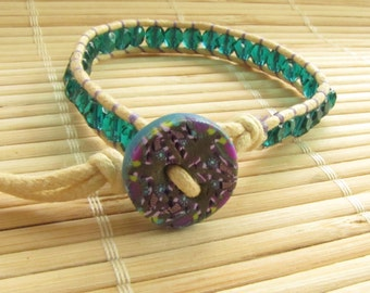 Women's Single Wrap Bracelet - Boho Chic Jewelry - Green and Purple