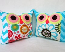 End of month sale/TWO/Polyfil Stuffed little owl pillows/Set of two /Aqua/ decoration/collection -