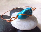Stackable Gemstone Bangle, Gemstone Bangle Bracelet, Boho Gemstone Stacking Bracelet, Copper Bracelet, Copper Bangle, Turquoise Bracelet