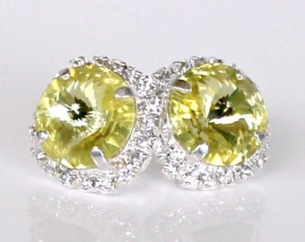 Lemon Yellow Swarovski Rivoli Crystals Framed with Halo Crystals on Silver Post/Stud Earrings