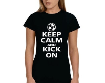 Soccer Keep Calm And Kick On Soccer Shirt - Great Gift For Your Coach Or Great For The Whole Team