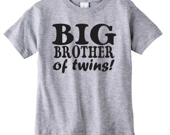 Sibling Gifts, Custom Shirts For Big Brother Of Twins, Cool T-shirts Available For Big, Bigger, Biggest, Baby, Little, Brother And Sisters
