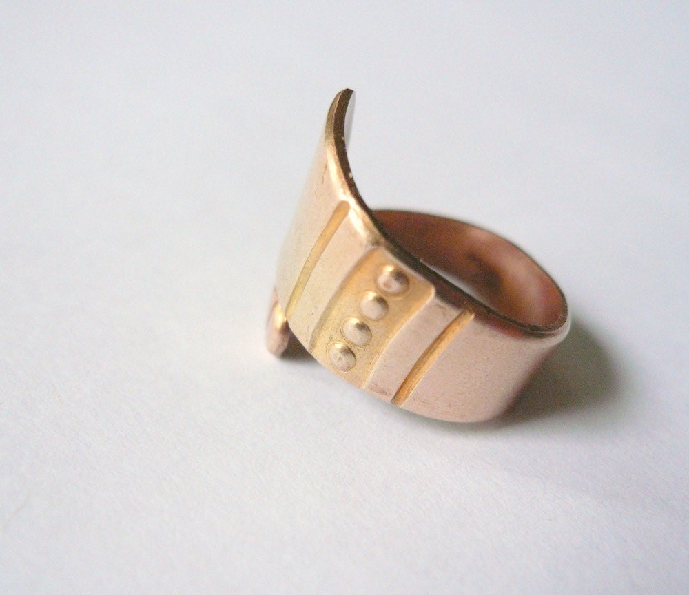 spoon ring wide band gold band vintage band brass ring gold