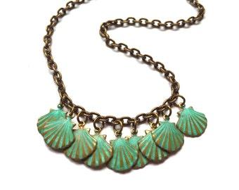 Verdigris Sea Shell Necklace