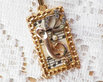 Handmade Music Themed Vintage Jewelry Pieces Mixed Media Collage Pendant / Necklace, Vintage Sheet Music, G Clef, Music Note, Treble Clef