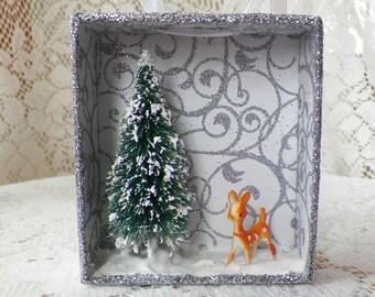 Handmade Embellished Mixed Media Diorama Shadowbox Featuring A Wee Vintage Deer in a Winter, Snowy Wonderland, OOAK