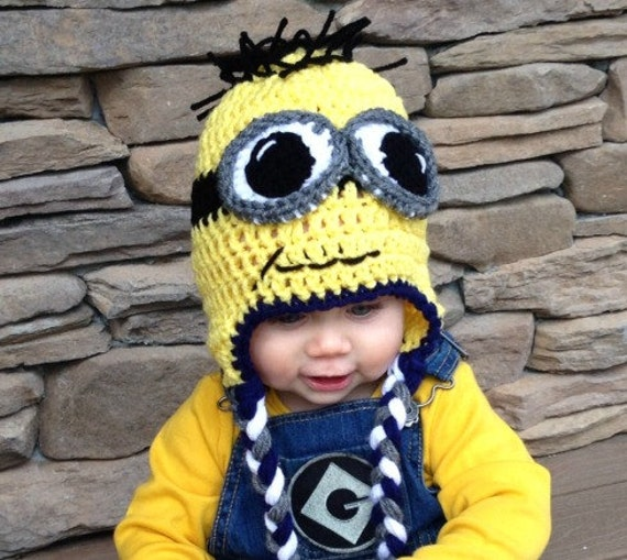 Minion Hat, Crochet Minion Hat, Minion Beanie with Ear Flaps