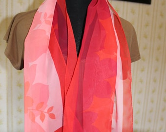 Vintage Long Pink and Red Floral Scarf