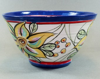 Handmade Pottery Bowl, Decorative Hand Painted Lively Colorful Floral Design SKU1410-11