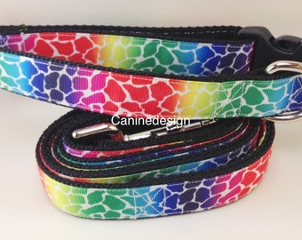 Dog Collar and Leash, Rainbow Giraffe, 6ft leash, 1 inch wide, adjustable, quick release, metal buckle, chain, martingale, hybrid, nylon