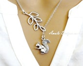 Leaf Branch and Squirrel Lariat Necklace