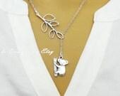 Lariat Style Branch Twig Animal and Koala Bear Necklace Koala Jewelry