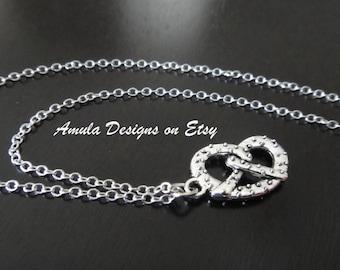 Antique Silver Pretzel Food Twisted Necklace