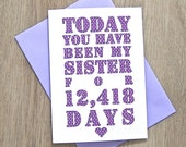 Days You've Been My Sister Card – Personalised sister Card – Card for sister – birthday card for sister – Christmas card for sister