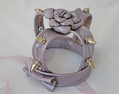 Miniature Gothic Lolita Pearly Lavender Rose Bow Leather Crown