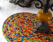 Bright South of the Border Colored Mat, Hot Pad, Trivet - OVAL - Handmade by Me