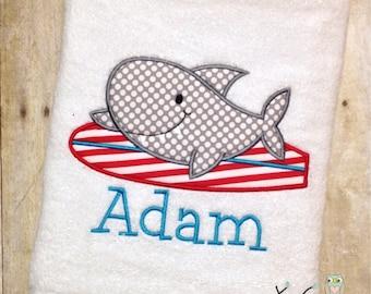 Monogrammed Beach Towel - Surfing Shark Applique Bath Towel - Personalized