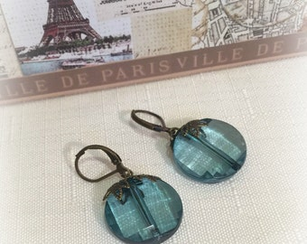 Earrings, Teal, Neo Victorian, Art Deco, Brass Earwires, Vintage Inspired, Elegant, Feminine Chic, Made in the USA