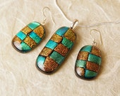 Dichroic Fused Glass Necklace Sterling Silver Earrings ...matching set...