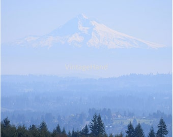 Mt Hood Digital download / Blue layering / fog snow valley / rustic / majestic / Oregon / country / Photograph / Art download / Home Decor